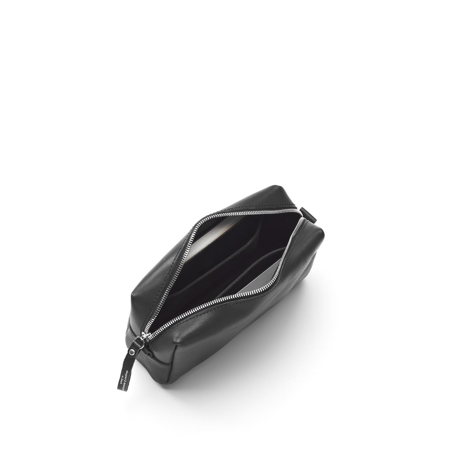Amenity Pouch - Black Leather Canvas