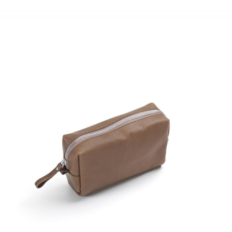 Amenity Pouch - Brown Leather Canvas