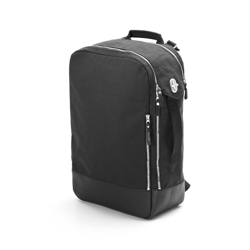 Backpack - Black Leather Canvas