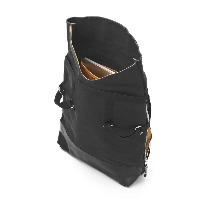 Day Tote - Black Leather Canvas