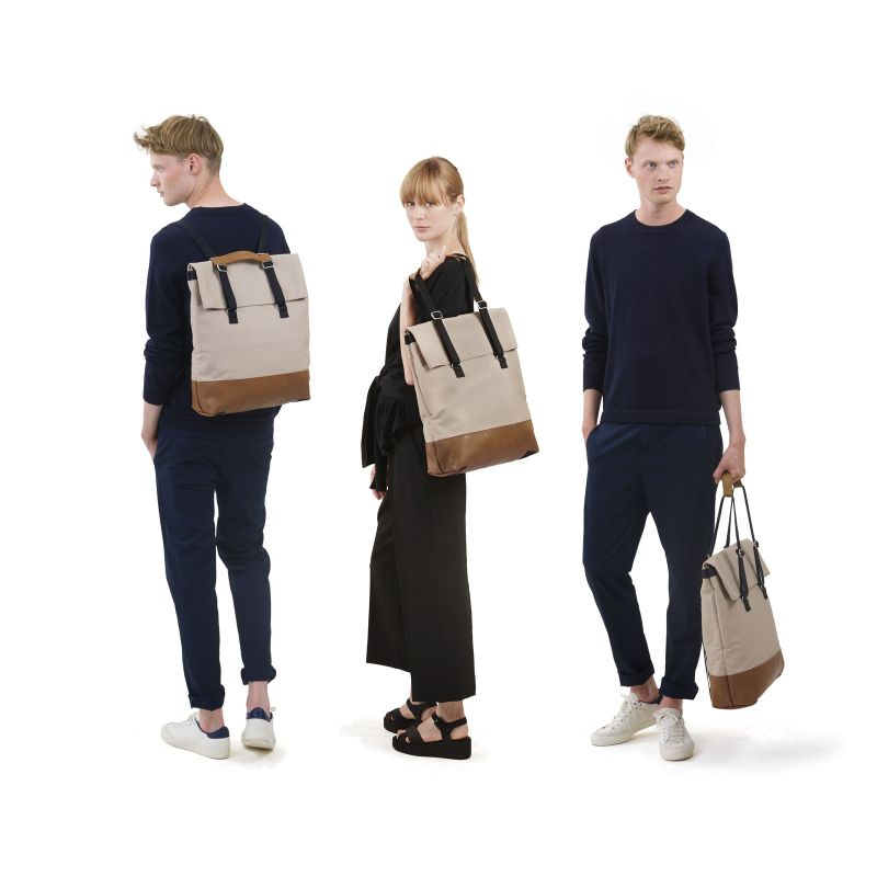 Day Tote - Brown Leather Canvas