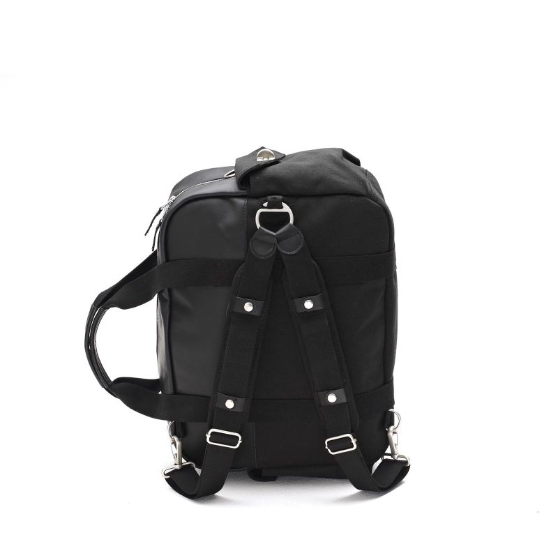 Overnighter - Black Leather Canvas