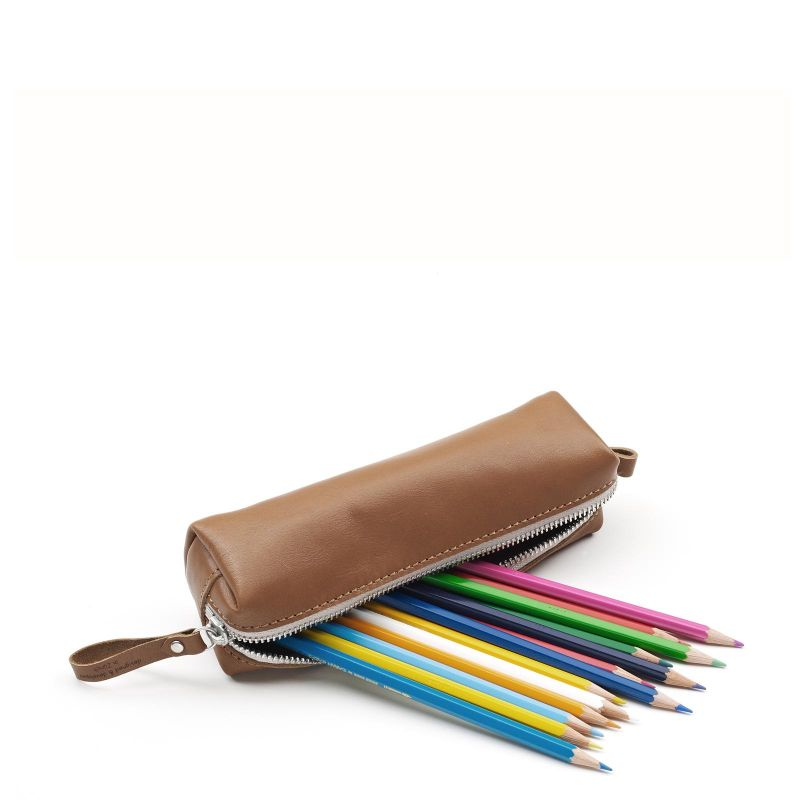 Pencil Pouch - Brown Leather Canvas